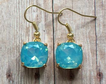 Nickel free!  Gorgeous aqua crystal dangle earrings