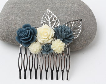 Bridal hair comb, Navy and Ivory Hair Comb, flower hairpiece, Navy Wedding hair accessories, Bridal Hair Comb, Maid of Honor Gift, Navy blue