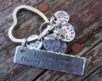Mother's Day Gift, Gift for Mom, Hand Stamped Keychain for Mom, Personalized Keychain, Gift from Kids, Birthday Gift for Mom, Keyring