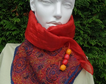 nuno felted silk scarf in vibrant orange red and blue neck scarf silk collar  toning pin   soft and flattering