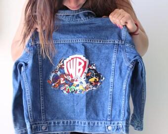 Vintage LOONEY TUNES Blue Jean Jacket...size small kids...jacket. retro. cartoons. tweety bird. sylvester. bird. kids jacket. warner bros.