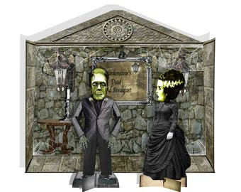 printable Halloween Frankenstein Theatre scene paper dolls and doll house room craft project