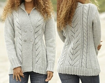 "Knit Jacket w/Cables & Shawl Collar - ""Arrowhead "" - MADE TO ORDER"