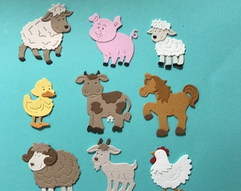 9 Farm Animal Die Cuts Embellishment Paper Hen Horse Ram Goat Lamb Ewe Cow Duck Pig Scrapbooking Cards and Paper Crafts Free Post