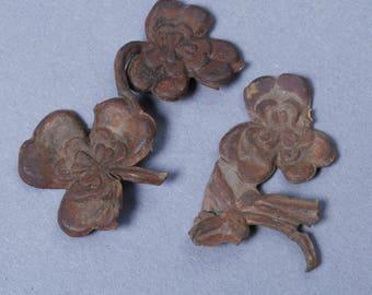 Antique brass plate, connector, finding, embellishment. Original dark patina. Clover leaf