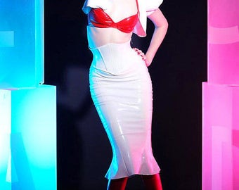 L/XL PVC Hobble skirt Matte white-Not Shiny CLEARANCE (ready to ship)