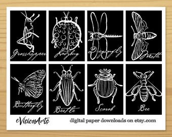 Insect Gift Tags, Bug Gift Tags, Brushed Line Gift Tags, Scarab Gift Tag, Dragonfly Gift Tag, Butterfly Gift Tag, Bee GiftTag