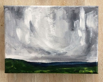 Small original landscape painting // 5x7 original painting // art // Landscape #5 // stormy skies sky // black white gray grey