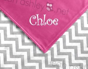 Baby Blanket - Gray Chevron Minky, Hot Pink Minky Smooth - BB1