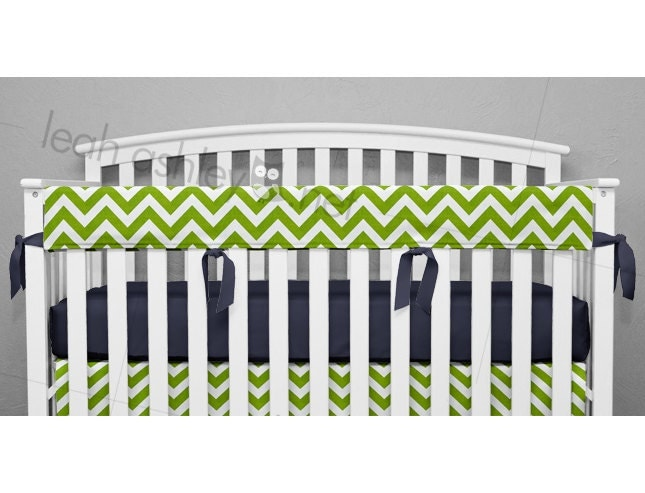 Teething Crib Rail Cover Protector Lime Green Chevron Navy
