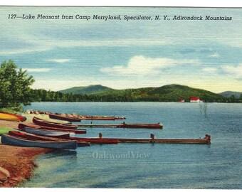Speculator NY Lake Pleasant from Camp Merryland Linen Postcard, Adirondacks New York, Vintage Ephemera c1930s, FREE SHIPPING