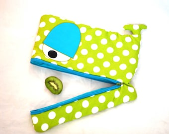 Limegreen Whale laptop sleeve with large white polka dots, teal eyes and lining, macbook sleeve, padded -custom made for your laptop!