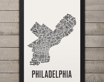 PHILADELPHIA Neighborhood Typography City Map Print