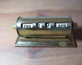 Vintage Brass Perpetual Calendar, Office, Home Decor, Staging, Park Sherman, CAL2