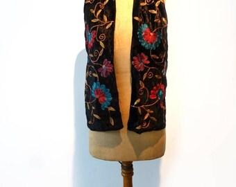 ON SALE Vintage chain stitch embroidered black velvet boho scarf, embellished black crushed velvet scarf