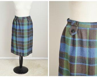 """vintage 50s blue green wool blend skirt -- womens small medium -- 28"""" waist"""