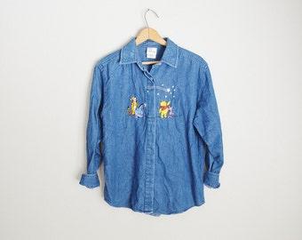 vintage embroidered winnie the pooh and tigger denim shirt -- womens medium