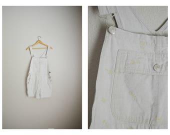 vintage tan linen blend summer shortalls -- womens medium