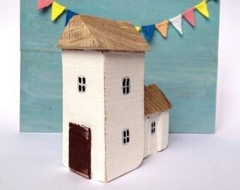 Little wooden church, Miniature house, miniature cottage, Driftwood house, driftwood art, reclaimed art