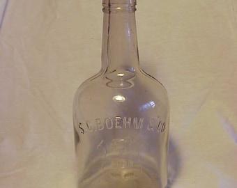 c1890s S. C. Boehm & Co. New York , Cork Top Blown Glass Back Bar Whiskey Bottle
