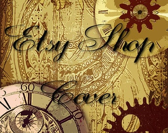 Premade Etsy Banner, Shop Cover Avatar, Business Card, Etsy Shop Package, Steampunk