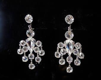 Art Deco Clear Open Back Gold Filled Chandelier Earrings (No. 1417)