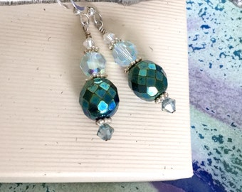 Czech fire polished iridescent teal beaded sterling silver earrings with Swarovski crystals E265