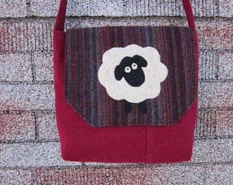 Sheep crossbody bag, wool totebag, sheep purse