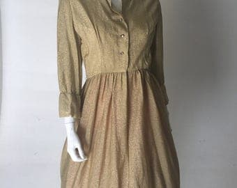 Vintage 1950s Dress - Gold Metallic Day Dress with Rhinestones
