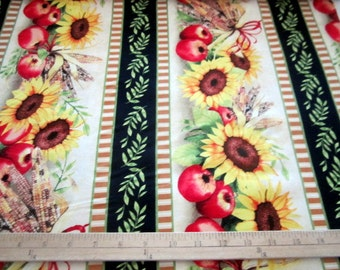 Sunshine Orchard Sunflower Stripe premium cotton fabric from Wilmington Prints
