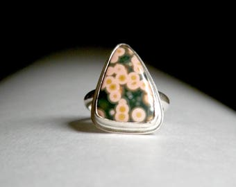 Sterling and Ocean Jasper Solitaire Ring - Can you see the Fireflies?