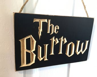 Engraved Door Hanger Sign CNC Carved - Harry Potter Inspired -The Burrow - Weasley - Patronus Muggle Entryway Entrance Front Door Welcome