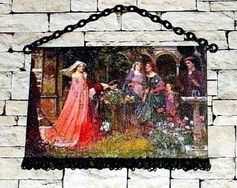 Enchanted Garden, Medieval Tapestry, Dollhouse Miniature 1/24 Scale, Hand Made
