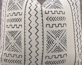 3BM Designer Pillow Cover  - African Mud Cloth No.3, Ivory and Black