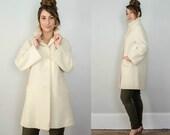1960s vintage coat / cream wool coat / boxy coat / medium - large