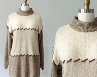 oversized vintage sweater / neutral silk and angora sweater / small - medium