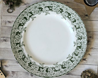 French antiques Saint-Amand & Hamage plate green floral ironstone chateau transferware authentic french country 1900s cha