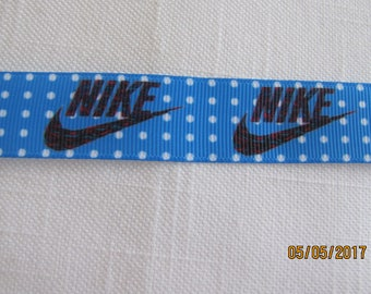 "Nike - White Dot Background - 7/8"" Grosgrain Ribbon by the Yard"