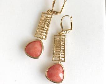 Orange Dangle Earrings in Gold. Gold Summer Drop Earrings. Drop. Fashion Earrings. Orange Jewelry.