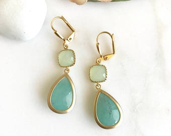 Aqua Teardrop and Mint Stone Dangle Earrings. Fashion Earrings. Bridesmaids Earrings. Wedding Jewelry.