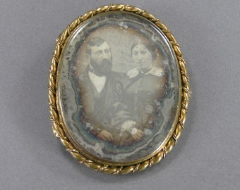 Antique Daguerreotype Brooch, Memorial, Memento, HUGE Brooch, Married Couple, Man and Woman, Antique European Jewelry, Rare, Old Photo