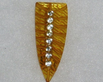 Bakelite Brooch Pin, Art Deco Vintage Carved Applejuice, Rhinestones