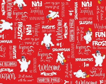 Quilting Treasures. Fun with Frosty. Main Red - BTY Cotton Fabric - Choose your cut