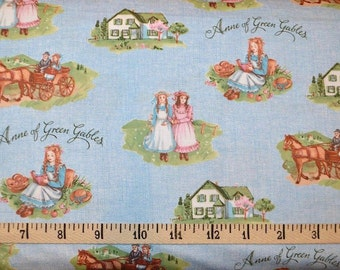 Riley Blake. Anne of Green Gables. Main Blue -  By the yard - Choose your cut of fabric