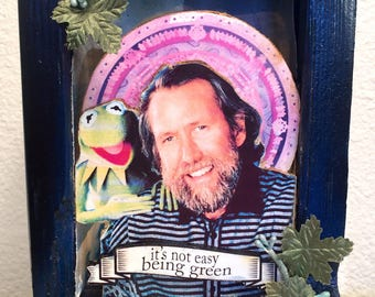 "JIm Henson ""its not easy being green"" prayer alter lightbox diorama kermit"