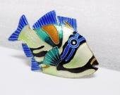 CLEARANCE SALE Enamel Fish Brooch Vintage Sterling and Bright Enamel Tropical Yellow Blue Green