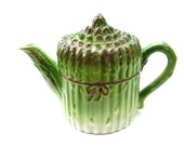 Vintage Majolica Tea pot Green Asparagus Ceramic Teapots Art Pottery Garden Kitchen