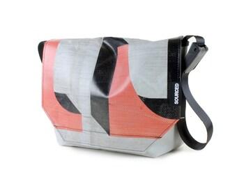 Messenger Bag made from Upcycled Truck Tarp, Water resistant Laptop Bag, Courier Bag, Satchel, Shoulder Bag (R11)