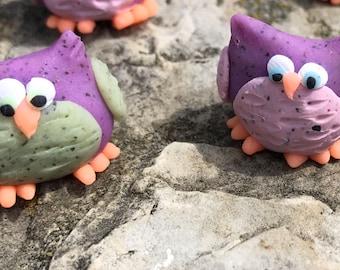 Two Handmade Polymer Clay owls