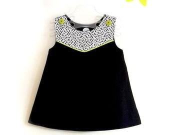 Baby girl dress Happy Rain black white and green acidulated cotton and raindrop pattern T1
